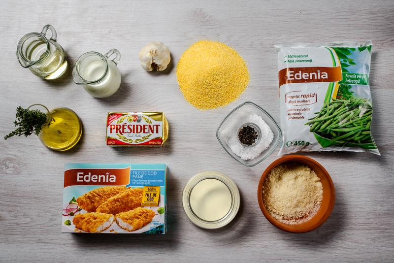 Cod pane cu mamaliga cu parmezan si fasole verde cu usturoi (1)